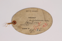 2015.175.2 back Luggage tag for the US used by a Jewish refugee from Vienna  Click to enlarge