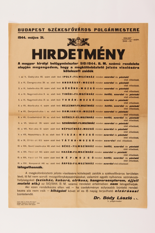 2014.508.1 front Text only poster announcing restrictions on Jews in Budapest