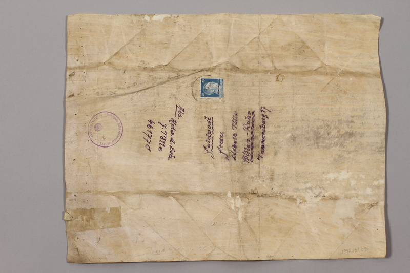 1992.183.9 back Desecrated Torah fragment used as wrapping