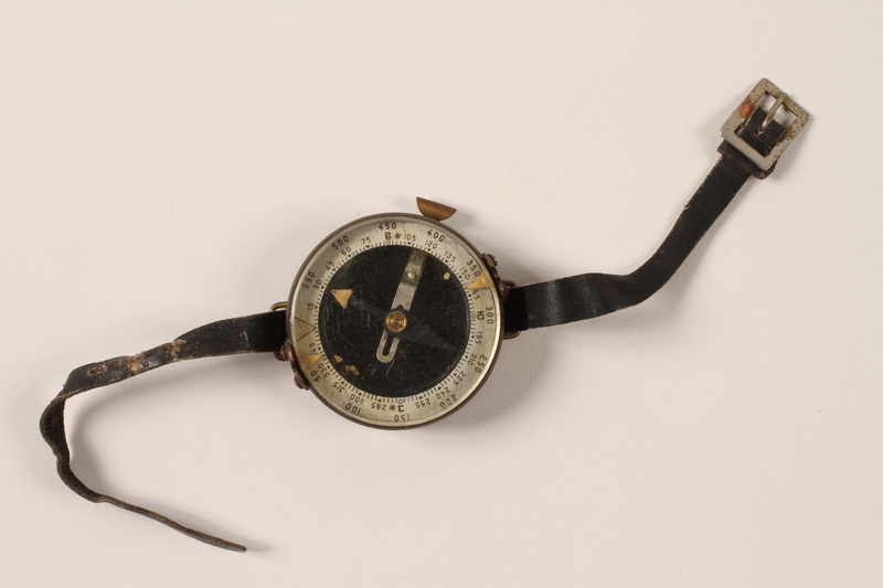 1992.184.1 front Soviet Army wrist compass used by a young Jewish Lithuanian partisan