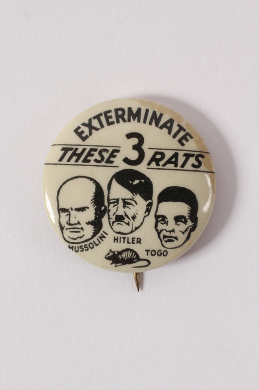 2015.238.2 front Anti-Axis pin calling for the extermination of Axis rats