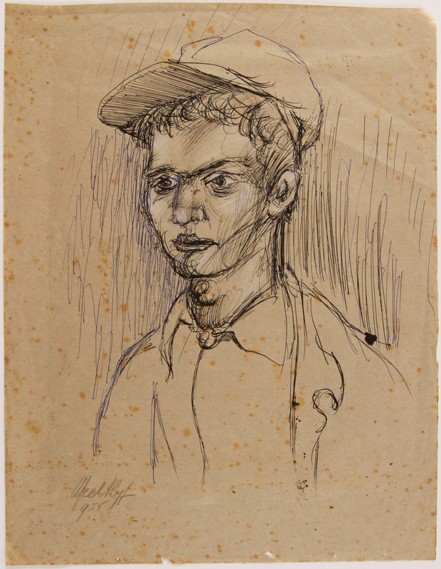 2014.486.4 front Portrait of a male survivor drawn postwar by a former Polish slave laborer