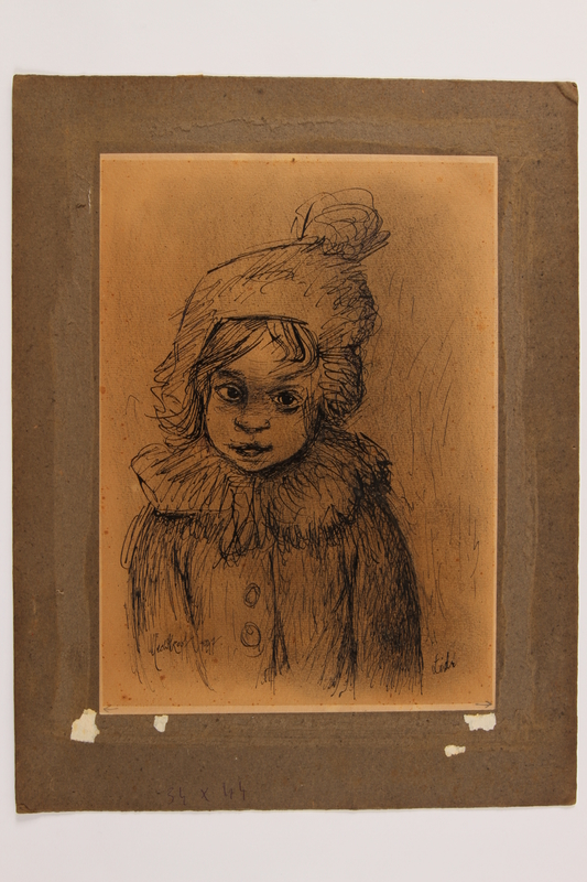 2014.486.5 front Portrait of a child survivor drawn postwar by a former Polish slave laborer