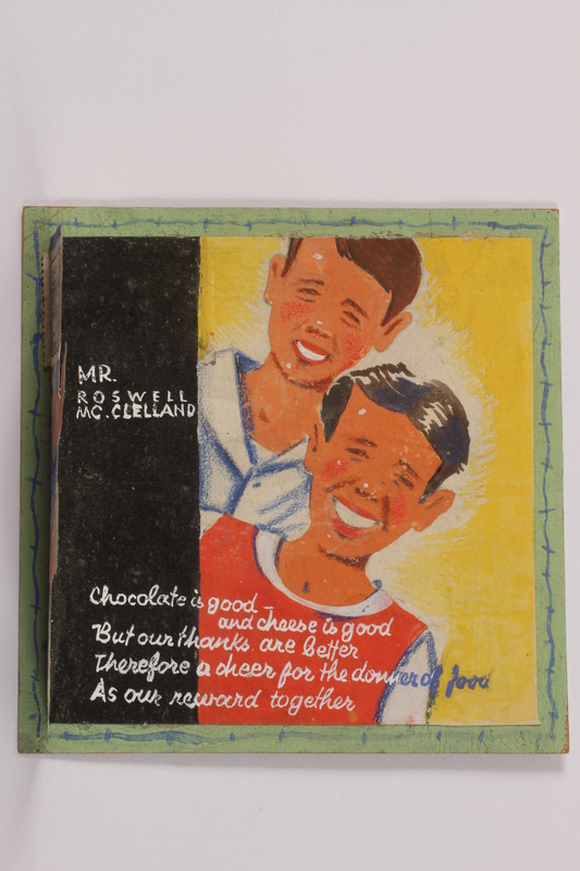 2014.500.2 open Card made by two young internees to thank a US aid worker