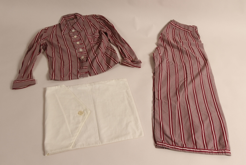 2014.512.2 a-d overall Pajama set owned by a Czech Jewish girl who escaped on a Kindertransport