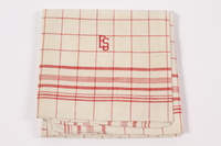 2012.485.4 front Red checked towel embroidered ES saved by German Jewish refugees  Click to enlarge