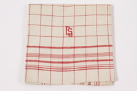 2012.485.5 front Red checked towel embroidered ES saved by German Jewish refugees  Click to enlarge