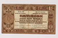 1990.23.242 front Netherlands, 1 gulden silver voucher, kept by a Dutch Jewish woman in hiding  Click to enlarge