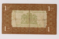 1990.23.242 back Netherlands, 1 gulden silver voucher, kept by a Dutch Jewish woman in hiding  Click to enlarge