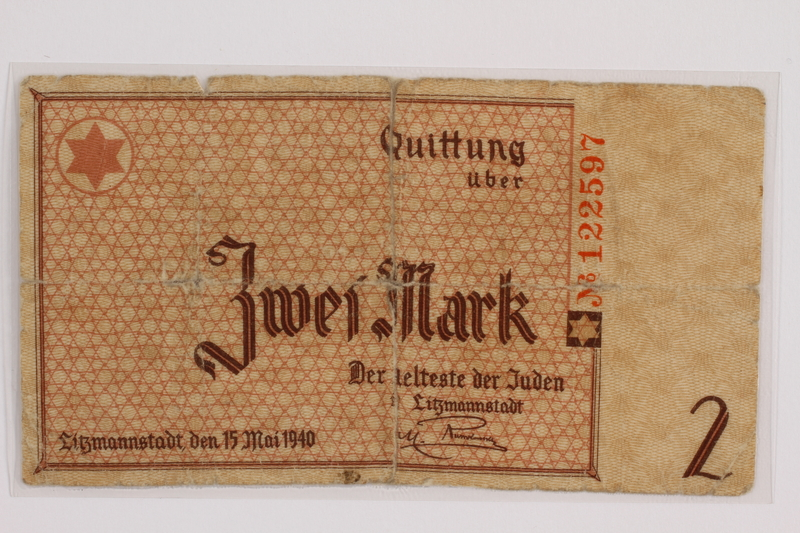 2012.409.9 front Lodz (Litzmannstadt) ghetto scrip, 2 mark note acquired by a Hungarian Jewish youth and former concentration camp inmate
