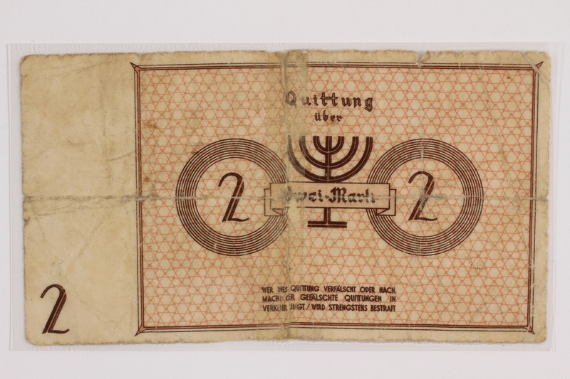 2012.409.9 back Lodz (Litzmannstadt) ghetto scrip, 2 mark note acquired by a Hungarian Jewish youth and former concentration camp inmate