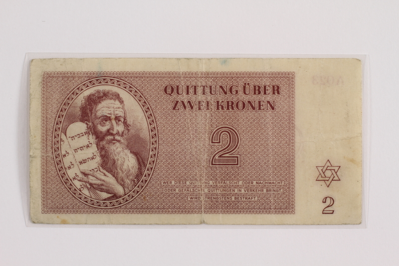 2012.409.10 front Theresienstadt ghetto-labor camp scrip, 2 kronen note acquired by a Hungarian Jewish youth and former concentration camp inmate