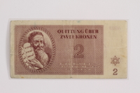 2012.409.10 front Theresienstadt ghetto-labor camp scrip, 2 kronen note acquired by a Hungarian Jewish youth and former concentration camp inmate  Click to enlarge