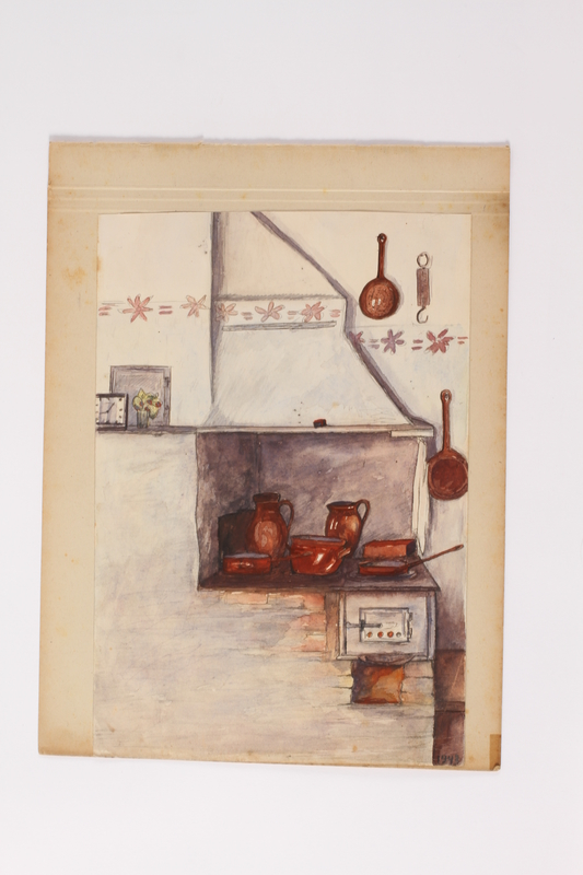 2014.501.2 front Watercolor by a Polish Jewish man of his hiding place under the stove