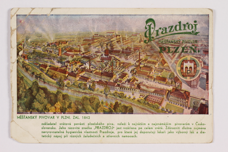 2014.480.85 front Postcard of the Pilsner Brewery in Plzen