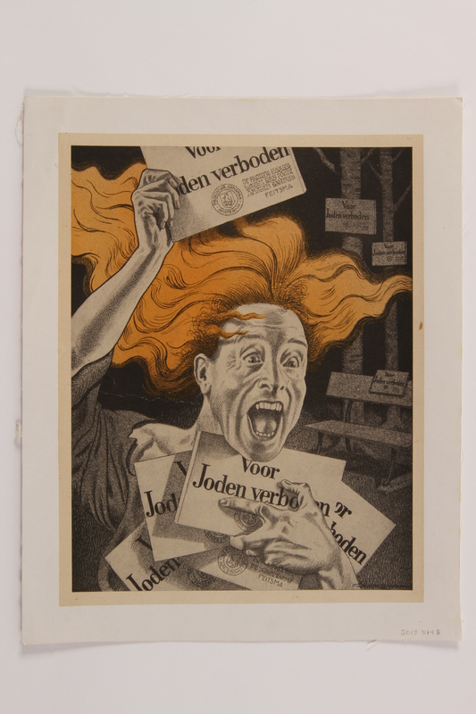 2013.514.8 front Book illustration of an allegorical cartoon on the destruction of Dutch Jews