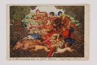 2013.514.6 front Postcard of a hunting tapestry miniature by Arthur Szyk inscribed to a friend  Click to enlarge