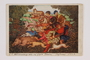Postcard of a hunting tapestry miniature by Arthur Szyk inscribed to a friend