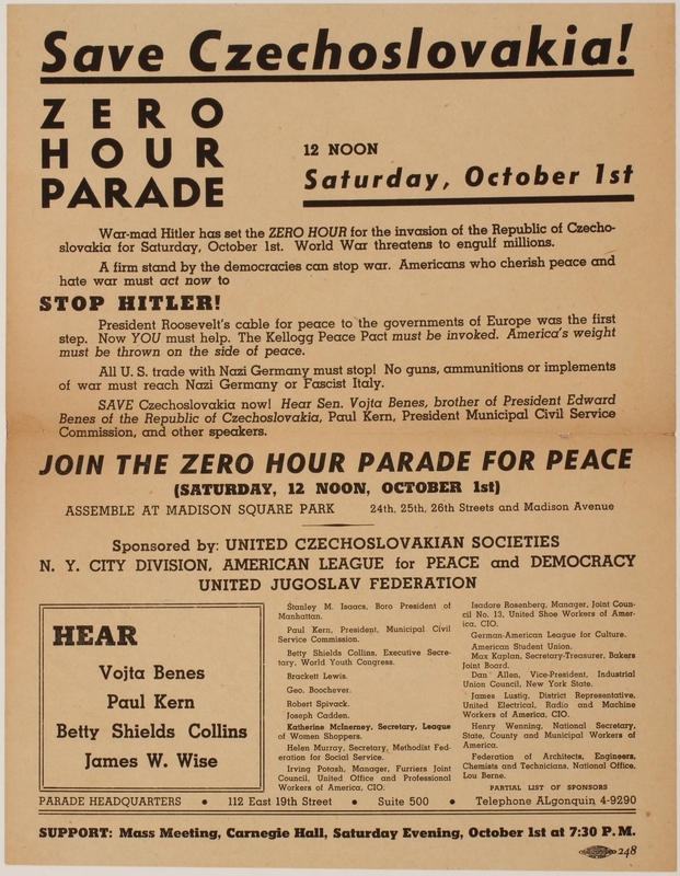 2015.266.6 front Flier for a parade protesting the annexation of the Sudetenland