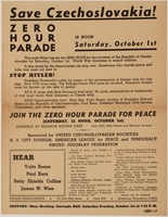 2015.266.6 front Flier for a parade protesting the annexation of the Sudetenland  Click to enlarge