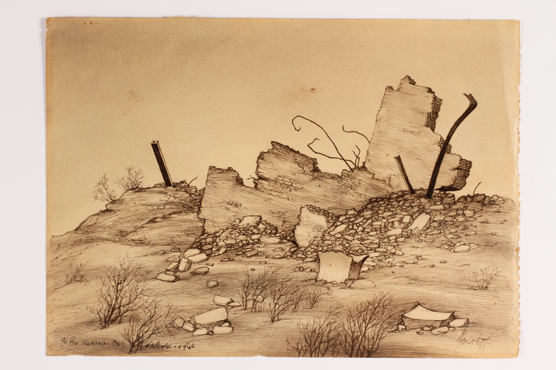 2014.486.2 front Drawing of a destroyed Warsaw street by a slave labor camp survivor