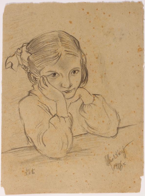 2014.486.3 front Portrait of a young survivor drawn postwar by a former Polish slave laborer