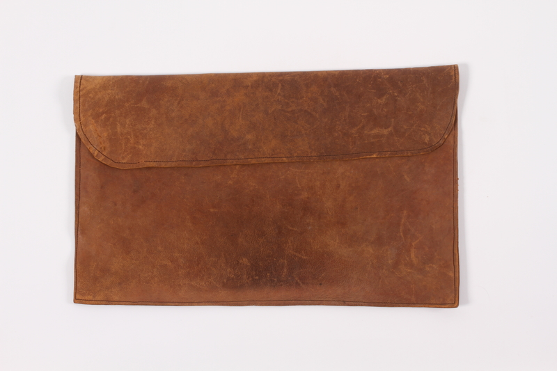 2012.485.11 front Leather tallit pouch made by an inmate in a Dutch detention center