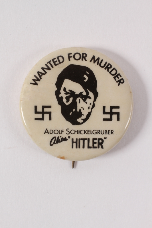 2015.224.13 front Hitler Wanted for Murder pin