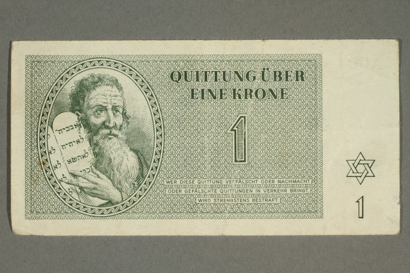 2018.102.3 front Theresienstadt ghetto-labor camp scrip, 1 krone note, belonging to an Austrian Jewish woman
