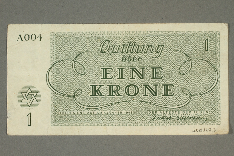 2018.102.3 back Theresienstadt ghetto-labor camp scrip, 1 krone note, belonging to an Austrian Jewish woman