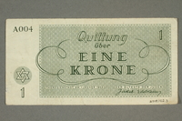 2018.102.3 back Theresienstadt ghetto-labor camp scrip, 1 krone note, belonging to an Austrian Jewish woman  Click to enlarge