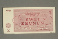 2018.102.5 back Theresienstadt ghetto-labor camp scrip, 2 kronen note, belonging to an Austrian Jewish woman  Click to enlarge