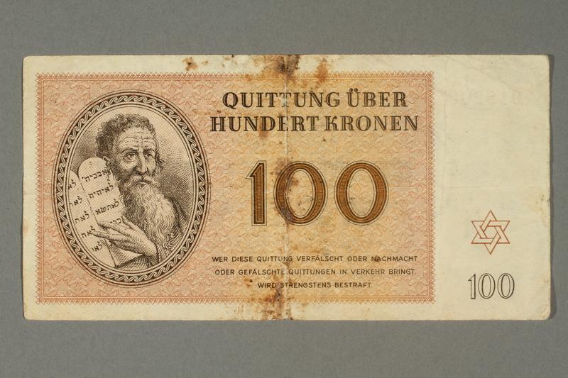 2018.102.6 front Theresienstadt ghetto-labor camp scrip, 100 kronen note, belonging to an Austrian Jewish woman