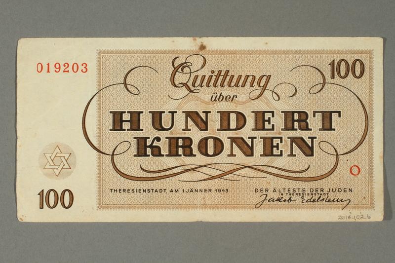 2018.102.6 back Theresienstadt ghetto-labor camp scrip, 100 kronen note, belonging to an Austrian Jewish woman