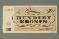 2018.102.6 back Theresienstadt ghetto-labor camp scrip, 100 kronen note, belonging to an Austrian Jewish woman  Click to enlarge