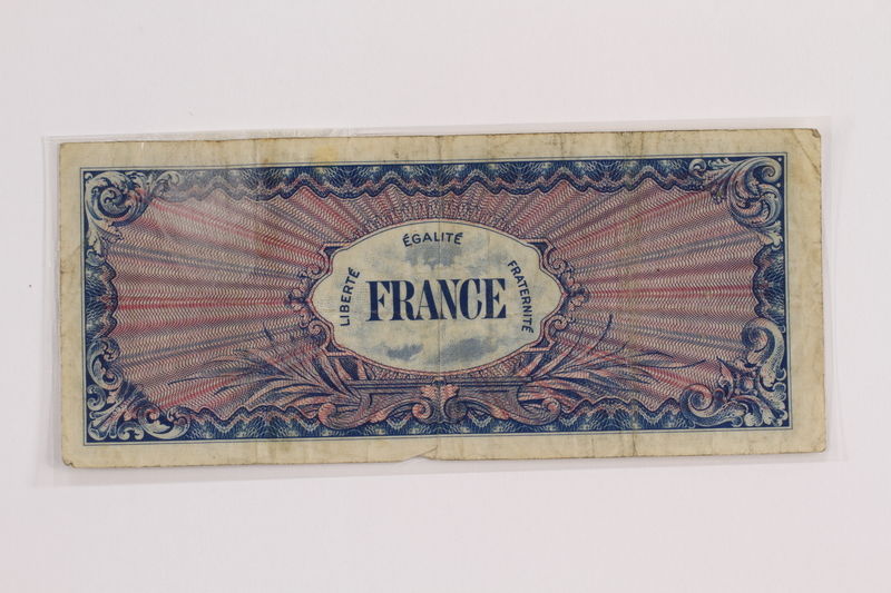 2012.409.12 back Allied Military currency for France, 100 franc bank note owned by a Hungarian Jewish concentration camp inmate