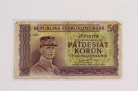 2012.409.13 front Republic of Czechoslovakia, paper currency, 50 korun note owned by a Hungarian Jewish former concentration camp inmate  Click to enlarge