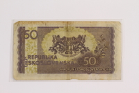 2012.409.13 back Republic of Czechoslovakia, paper currency, 50 korun note owned by a Hungarian Jewish former concentration camp inmate  Click to enlarge