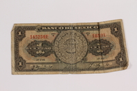 2012.409.14 front Mexico, paper currency, 1 peso owned by a Hungarian Jewish youth and former concentration camp inmate  Click to enlarge