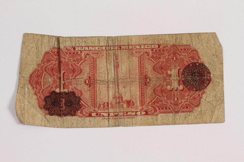 2012.409.14 back Mexico, paper currency, 1 peso owned by a Hungarian Jewish youth and former concentration camp inmate