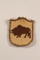 2012.471.9 front 5th Kresowa Infantry bison shoulder patch worn by a Jewish soldier, 2nd Polish Corps  Click to enlarge