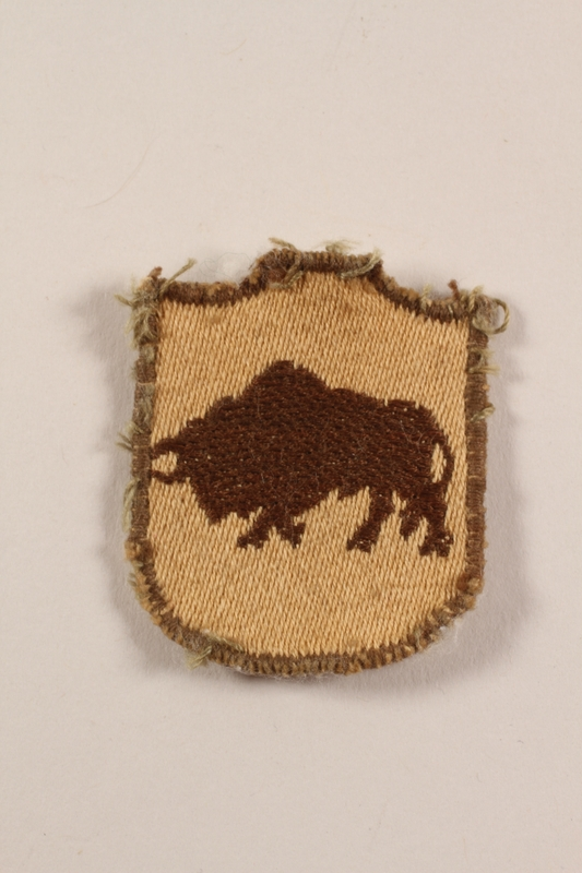 2012.471.9 front 5th Kresowa Infantry bison shoulder patch worn by a Jewish soldier, 2nd Polish Corps