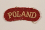 Poland military patch worn by a Jewish soldier, 2nd Polish Corps