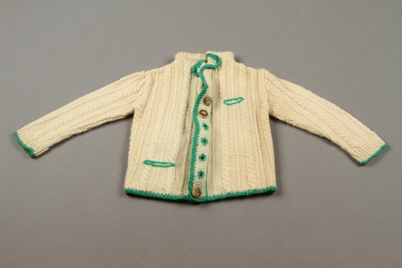 2018.126.21a front Child's lederhosen and cardigan sweater set