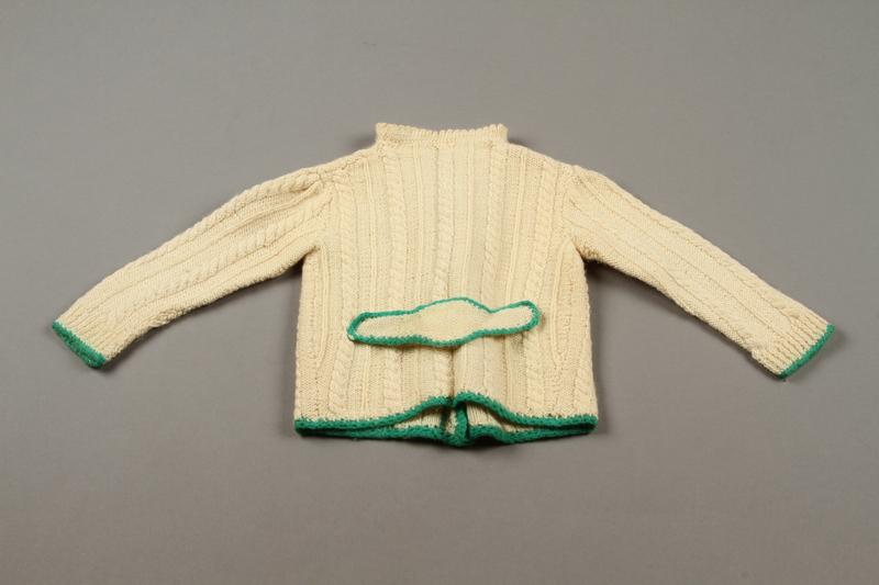 2018.126.21a back Child's lederhosen and cardigan sweater set