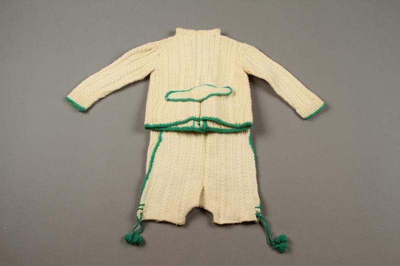 2018.126.21a-b back Child's lederhosen and cardigan sweater set