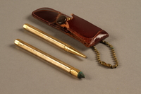 2018.126.23 a-c side a Brass pen and pencil set with case  Click to enlarge
