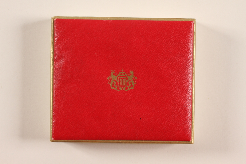 2012.471.16 closed Red gift box owned by a Jewish soldier, 2nd Polish Corps