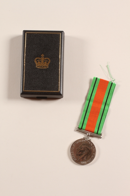 2012.471.20_a-c front Defence Medal 1939-1945, ribbon and box awarded to Jewish soldier, 2nd Polish Corps
