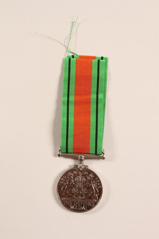 2012.471.20_a-b back Defence Medal 1939-1945, ribbon and box awarded to Jewish soldier, 2nd Polish Corps